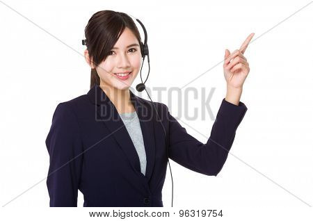 Customer services operator with finger up