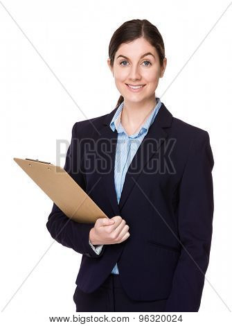 Young businesswoman hold with file board