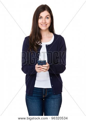 Caucasian woman use of the mobile phone