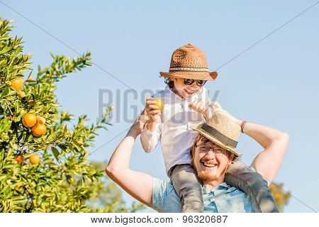 Happy father with his young son have fun on citrus farm