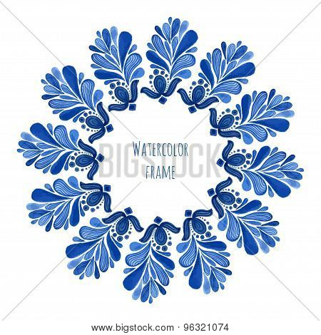 Blue Traditional Floral Round Frame In Russian Gzhel Style Or Holland Style. Vecor Template With Wat