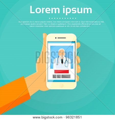 Senior Medical Doctor Smart Phone Application Flat