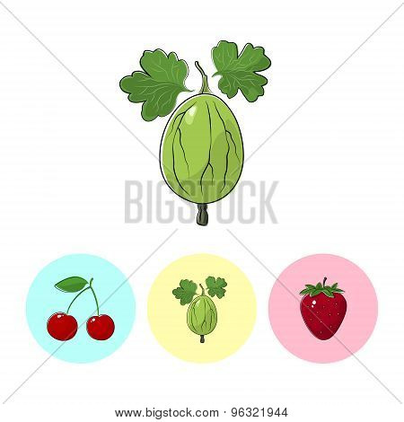 Fruit Icons, Gooseberry ,cherry,  Strawberry