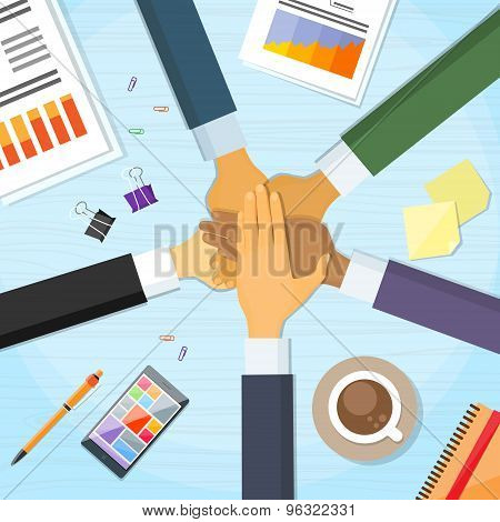 Hands Desk Team Leader Business People Pile Hand
