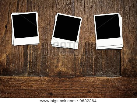 Blank Photos On Old Wood Background
