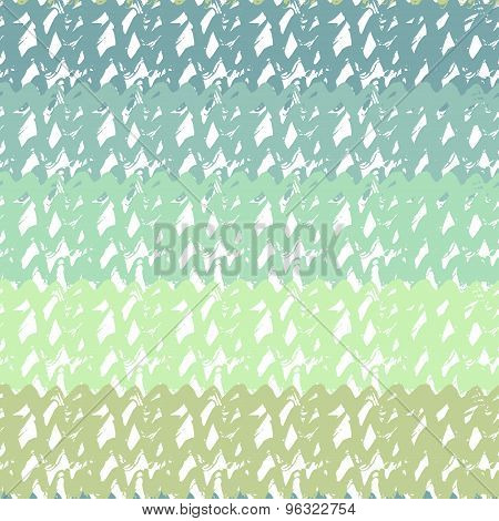 Gradient Seamless Pattern In Turquoise Sea Colors. Hand Drawn Vector Texture