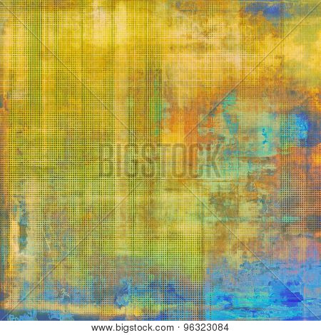 Weathered and distressed grunge background with different color patterns: yellow (beige); brown; green; blue
