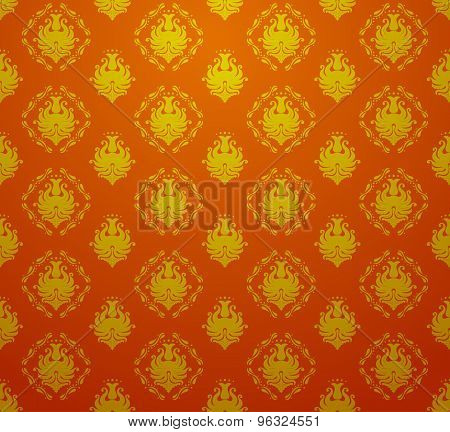 Seamless retro vintage victorial baroque wallpaper in red and golden colors. vector