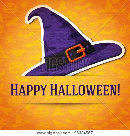 Happy halloween greeting card with witch hat sticker. Vector