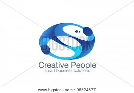 Partners abstract Love couple people Logo design vector template.  Contract deal friends Logotype. Teamwork co-working concept icon.