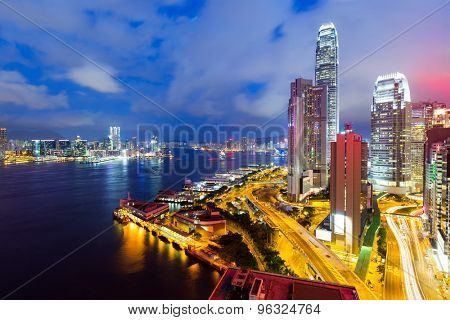 Crowded downtown and building in Hong Kong