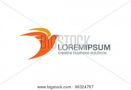 Abstract Flying Bird logo design vector template. Creative concept logotype icon.