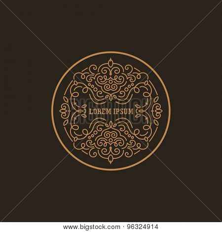 Vintage Luxury Logo design circle shape template flourish calligraphic elegant.  Business logotype emblem, identity for Boutique ,Restaurant, Heraldic, Jewelry, Fashion illustration lineart style.