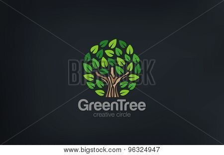 Abstract Green Tree Logo Circle shape design vector template.  Green Farm Garden Logotype icon. Eco concept.