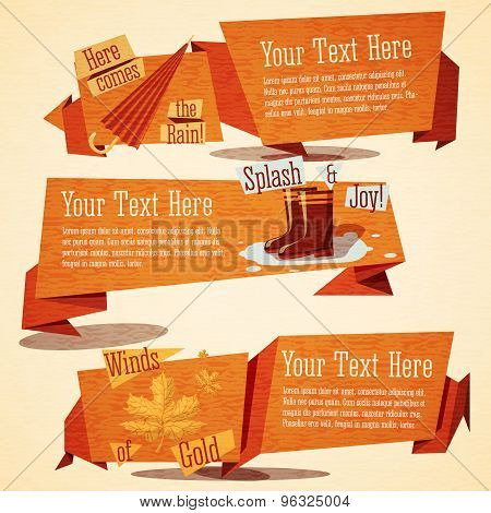 Set of cute autumn vintage stylized banners. Vector