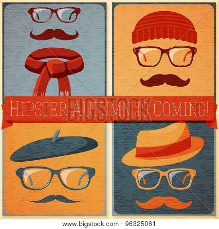 Set of autumn dressed hipster faces on the grunge retro background. Vector