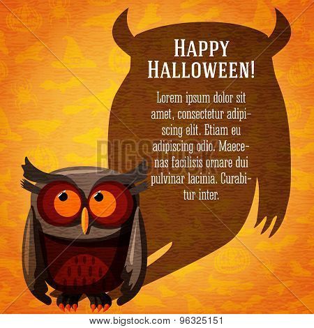 Happy halloween cute banner on the craft paper texture with brown owl and dark scary shadow.