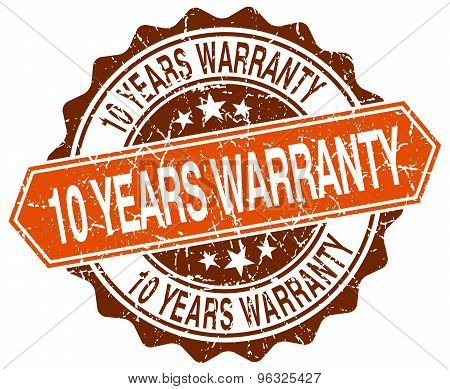10 Years Warranty Orange Round Grunge Stamp On White