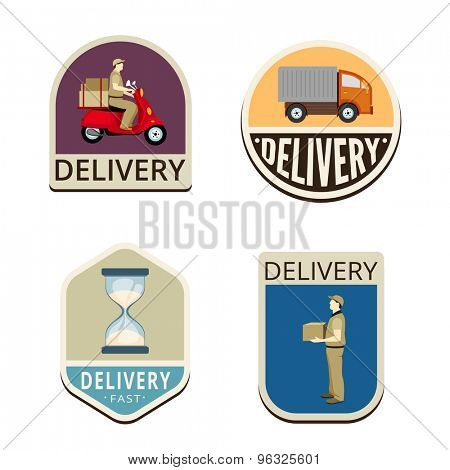 Delivery Vintage Labels vector icon design collection. Shield banner sign. Motorbike, Truck, Sand clock, delivery man flat icons.