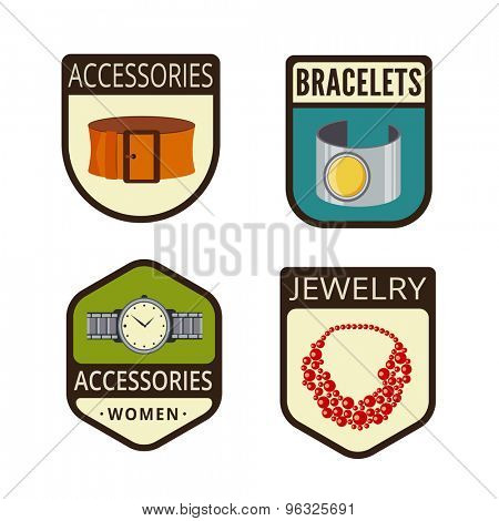 Accessories Vintage Labels vector icon design collection. Shield banner sign. Bracelet, Watch, Jewelry necklace, strap flat icons.