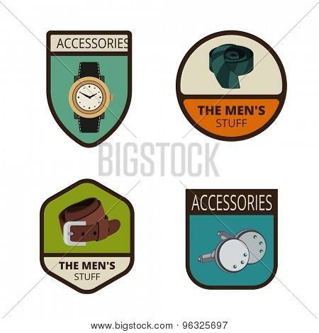 Men's accessories Vintage Labels vector icon design collection. Shield banner sign. Watch, Tie, Thong, studs flat icons.