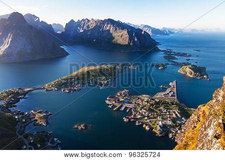 Aeral view of Reine village, Lofoten island, Norway