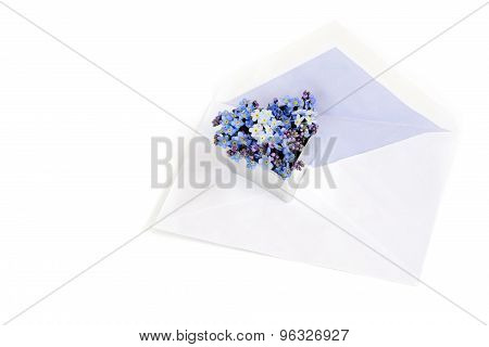 Envelope With  Forget-me-not Flowers In A Heart Shape, Love Letter Symbol