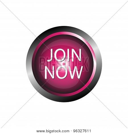 Join now icon glossy pink button isolated vector