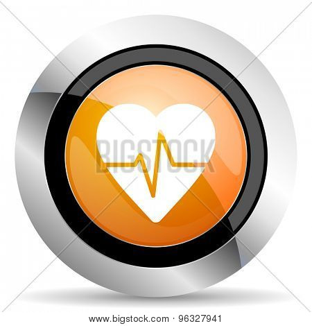 pulse orange icon heart rate sign