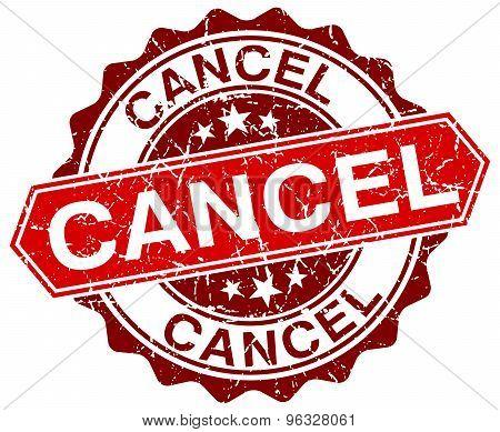 Cancel Red Round Grunge Stamp On White