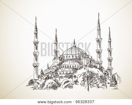 July 19, 2015: Blue Mosque in Istanbul. Hand drawn sketch. Vector illustration