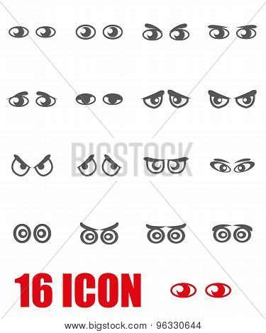 Vector Grey Cartoon Eyes Icon Set
