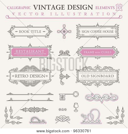 Calligraphic frames vintage elements. Vector baroque logo set. Design symbols and page decoration. Border frames collection royal ornament. Pastel colors