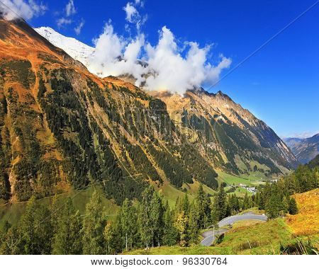 Early autumn in the Austrian Alps. The beautiful sunny day in the valley Grossglocknershtrasse