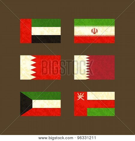 Flags Of Uae, Iran, Bahrain, Qatar, Kuwait And Oman
