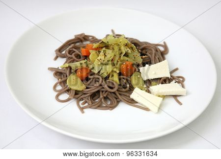 Soba Noodle With Vegetable And Cheese