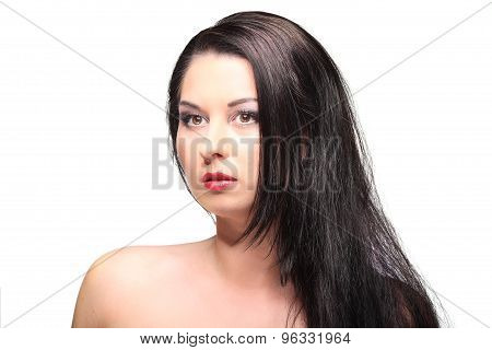 Beauty Portrait With Beautiful Bright Brown Long Hair Isolated