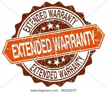 Extended Warranty Orange Round Grunge Stamp On White