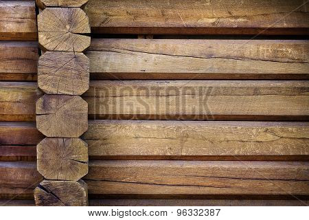 background of light wooden huts