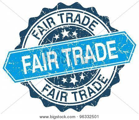 Fair Trade Blue Round Grunge Stamp On White