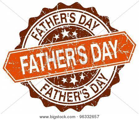 Father's Day Orange Round Grunge Stamp On White