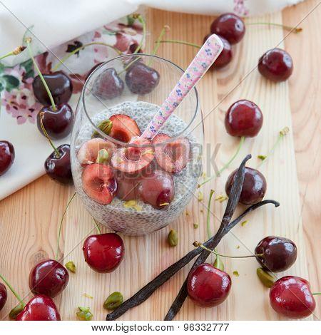 Chia Pudding With Fresh Cherries