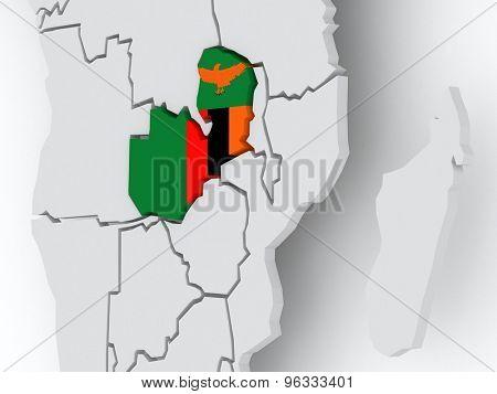 Map of worlds. Zambia. 3d
