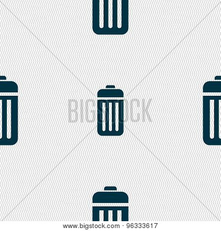 The Trash Icon Sign. Seamless Pattern With Geometric Texture. Vector
