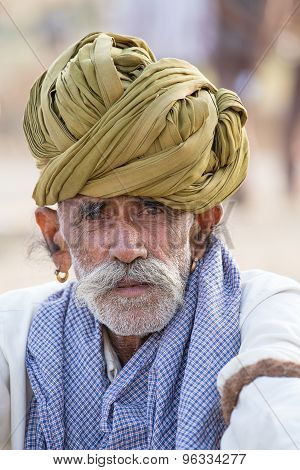 Portrait Indian Man Attended The Annual Pushkar Camel Mela. India