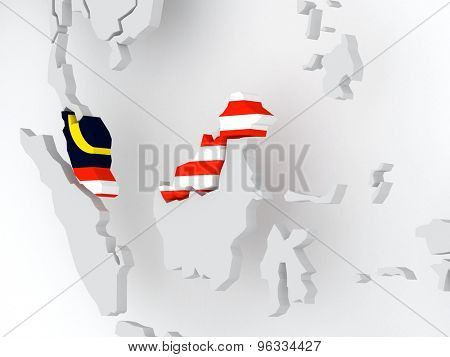 Map of worlds. Malaysia. 3d