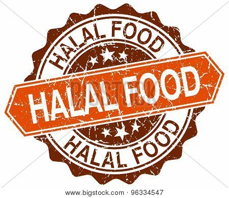 Halal Food Orange Round Grunge Stamp On White