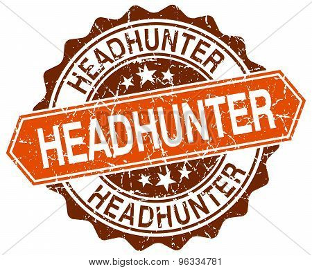 Headhunter Orange Round Grunge Stamp On White