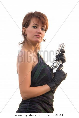 Young Woman On White Background Holding A Gun