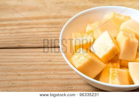 Cantaloupe In White Dish